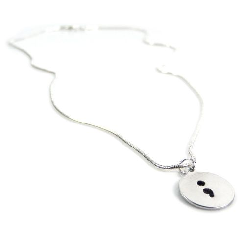 Hand Stamped Necklace with an Inspirational Semicolon Circle Pendant – Gift Boxed & Free Delivery UK